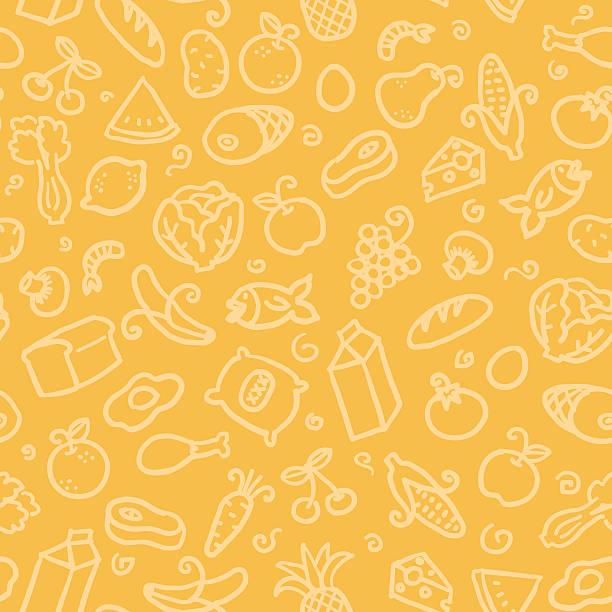 ilustrações, clipart, desenhos animados e ícones de sem costura padrão: de comida - alimento cru