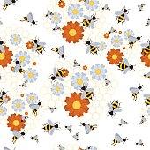 Seamless pattern for beekeeping set
