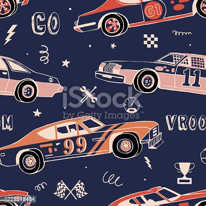 Racing cars seamless pattern. Hand-drawn muscle cars with isolated equipment and tools for racing. Pen graphic. Racing sport illustration. Background for boys.
