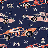 istock Seamless pattern for boys. Hand-drawn racing sport cars. Old fashion retro design. 1222518484