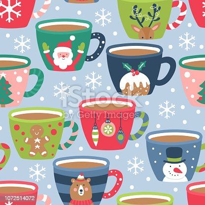 istock Seamless pattern for Christmas holiday with cocoa chocolate cup. 1072514072