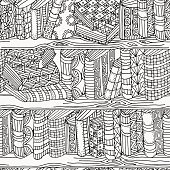 Seamless pattern for coloring book. Artistically books