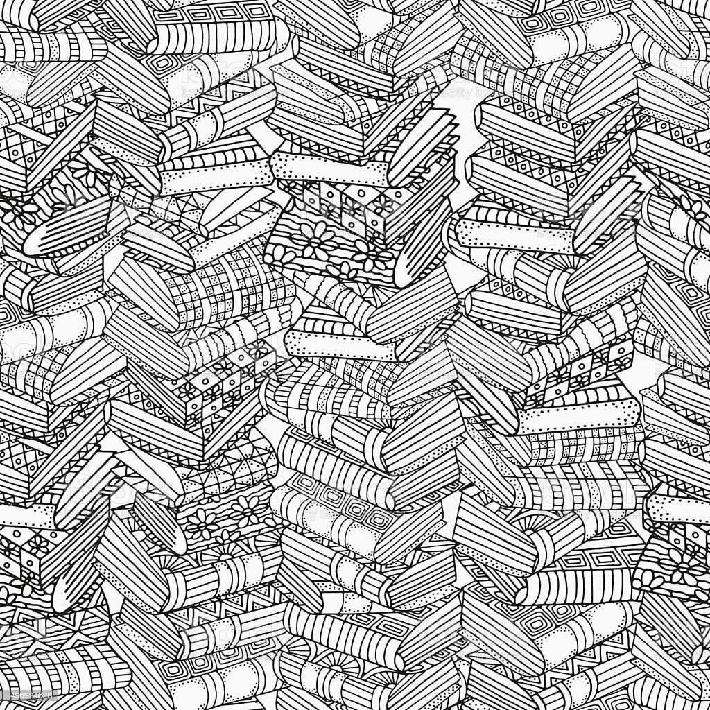 Seamless pattern for coloring book. Artistically books vector art illustration