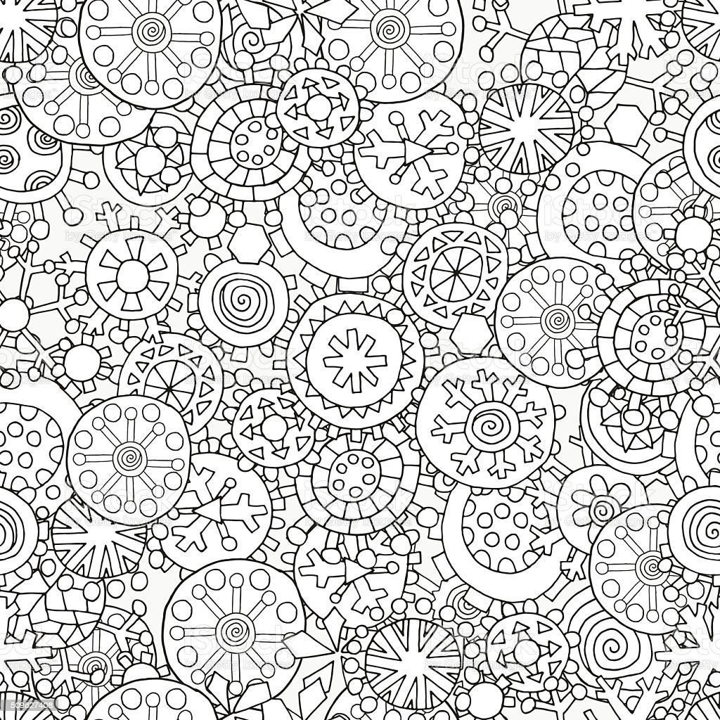 Seamless Pattern For Coloring Book Christmas Winter Snowflakes ...
