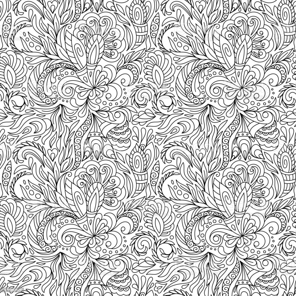 Seamless pattern for coloring book.  Ethnic, floral, retro, doodle, vector vector art illustration