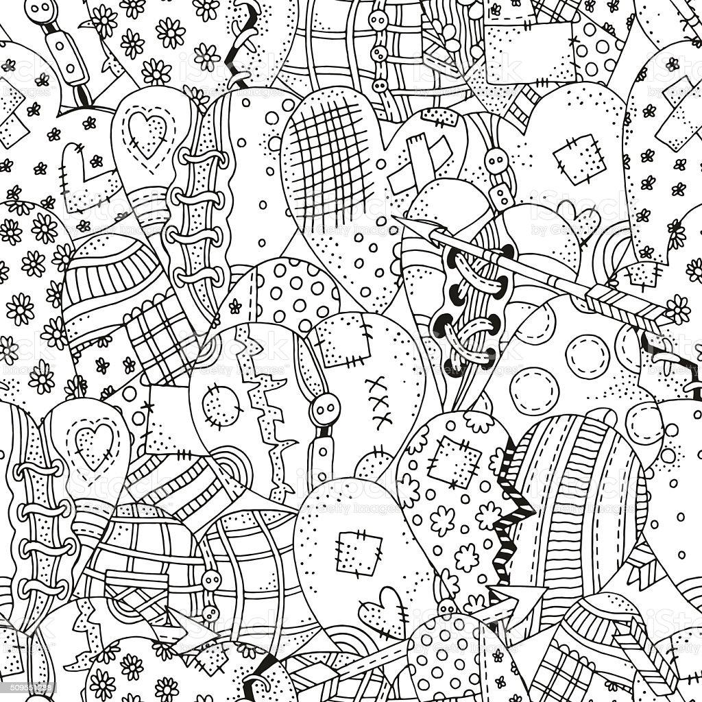 Sin Costura Patrón Para Colorear Libro Con Mano Dibujado Corazones ...