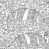 Seamless pattern for coloring book with artistically houses. Magic City