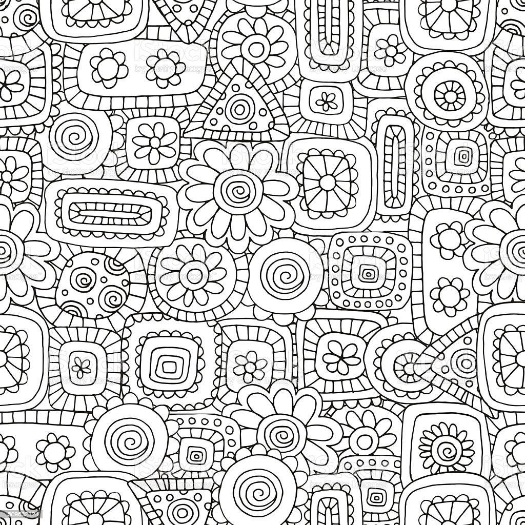 Sin Costura Patrón Para Colorear Libro Con Flovers Y Figuras De ...