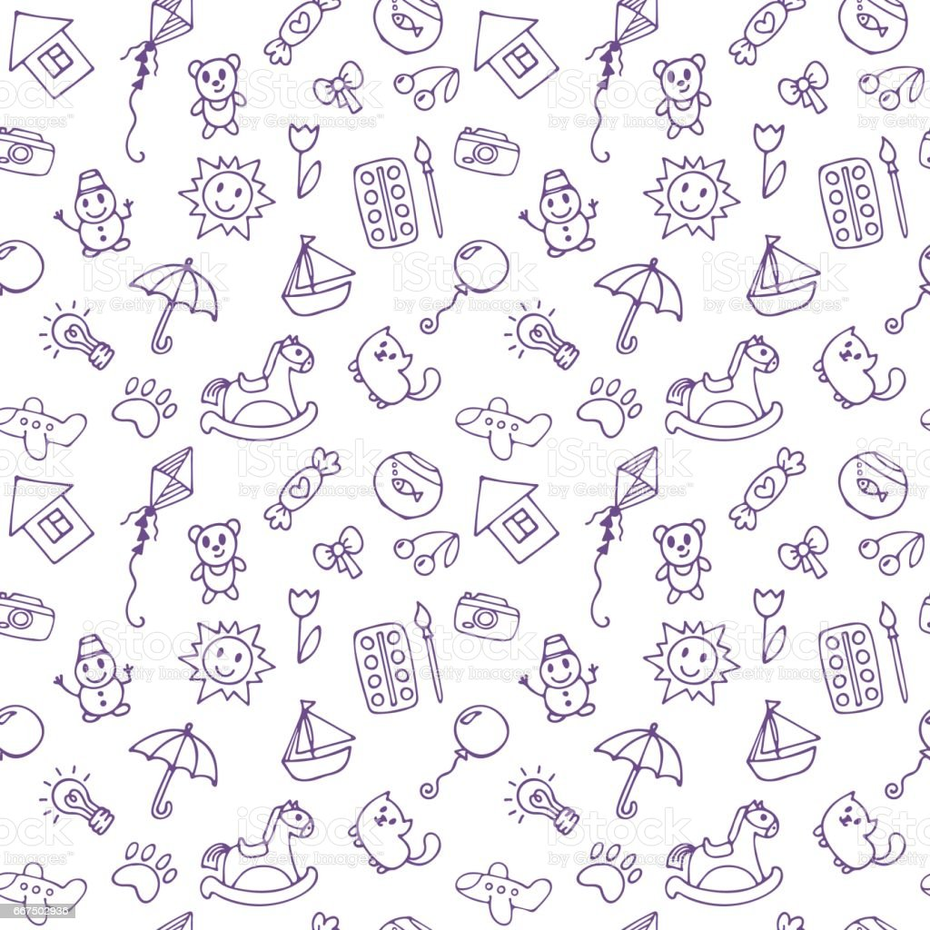 Seamless pattern for cute little boys and girls doodle for Cute little doodles to draw