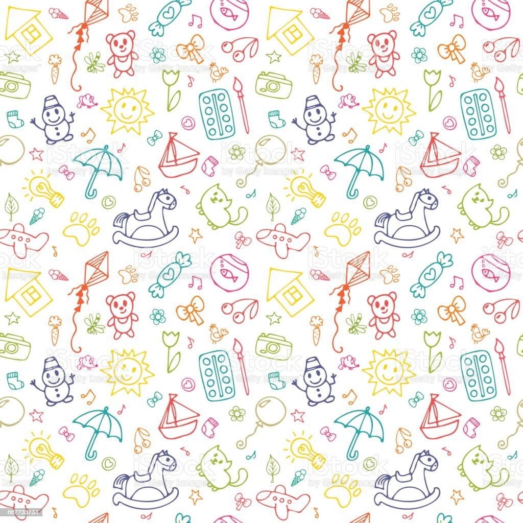 718988450 Seamless pattern for cute little girls and boys. Sketch set of drawings in  child style. Doodle children drawing background - Illustration .