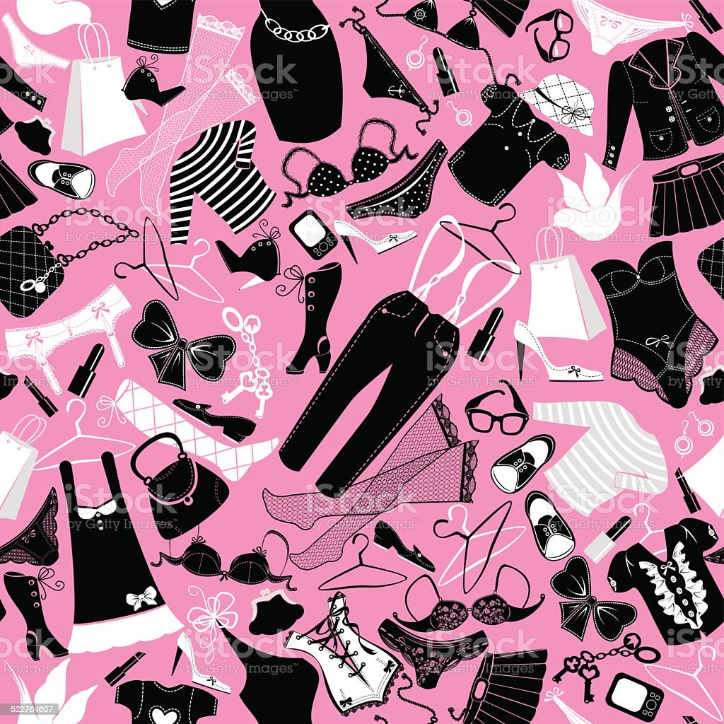 Seamless Pattern For Fashion Design Silhouettes Of Glamor Clothes Stock Illustration Download Image Now Istock