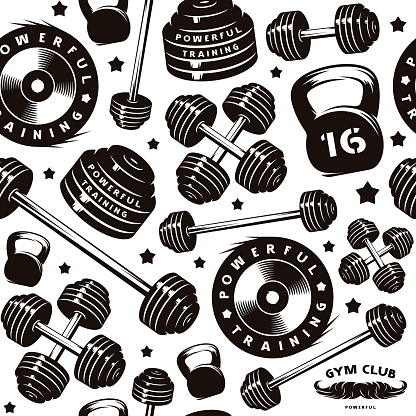 Seamless pattern for gym club