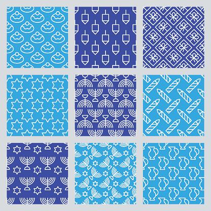 Seamless pattern for Jewish holiday Hanukkah. Vector illustration