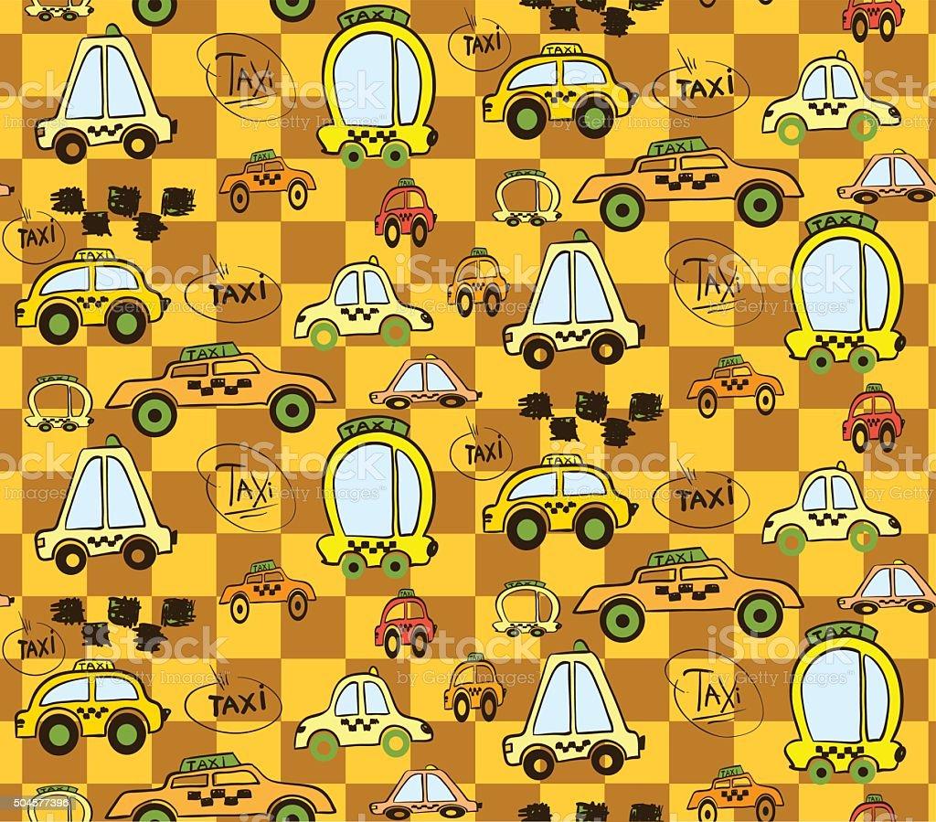Nahtlose Muster Fur Kinder Mit Dem Auto Oder Taxi Stock Vektor Art
