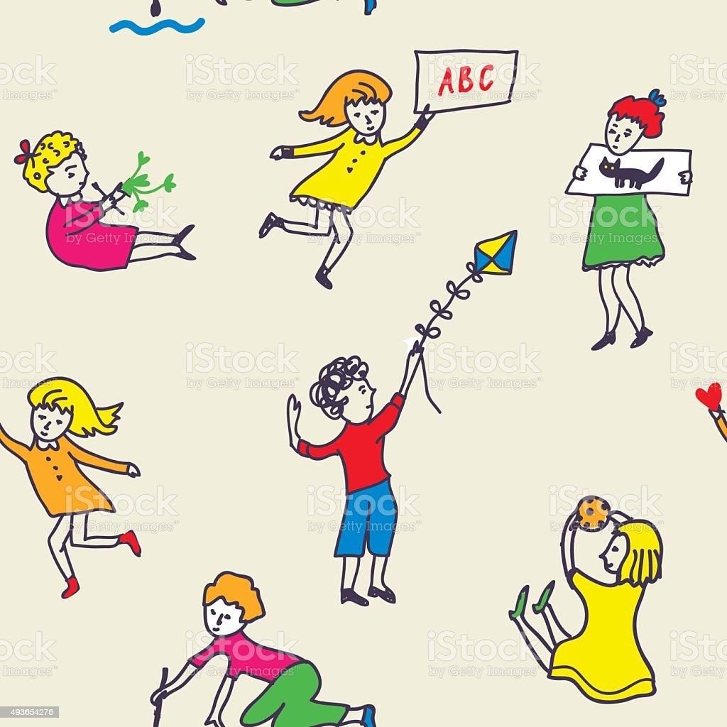 Nahtlose Muster für Kinder bereits im kindergarten mit aktiven – Vektorgrafik