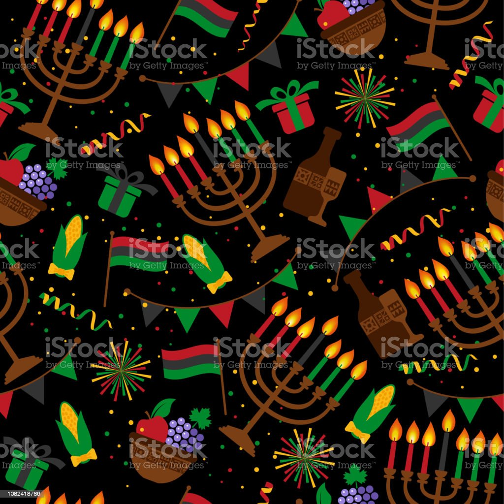 Seamless pattern for Kwanzaa with traditional colored and candles representing the Seven Principles or Nguzo Saba . - Royalty-free Abstract stock vector