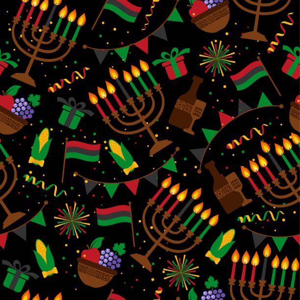 Seamless pattern for Kwanzaa with traditional colored and candles representing the Seven Principles or Nguzo Saba . vector art illustration