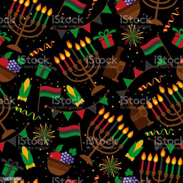 Seamless Pattern For Kwanzaa With Traditional Colored And Candles Representing The Seven Principles Or Nguzo Saba Stock Illustration - Download Image Now