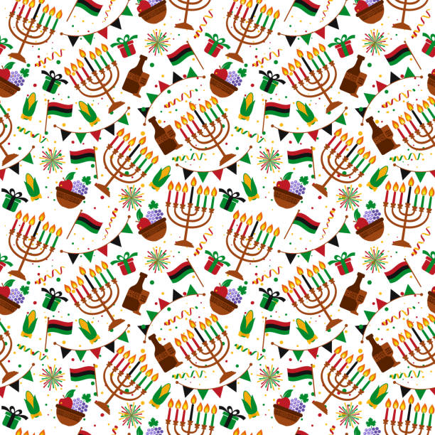 Seamless pattern for Kwanzaa with traditional colored and candles representing the Seven Principles or Nguzo Saba . Seamless pattern for Kwanzaa with traditional colored and candles. kwanzaa stock illustrations