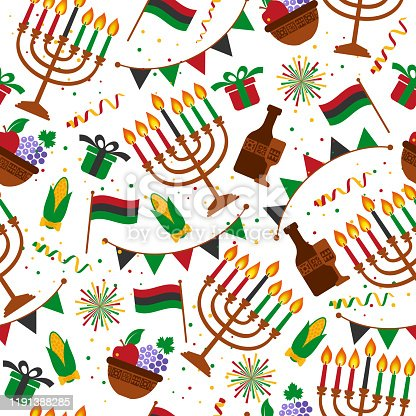istock Seamless pattern for Kwanzaa with traditional colored and candles representing the Seven Principles or Nguzo Saba . 1191388285