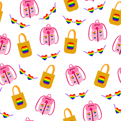 Seamless pattern for LGBT pride month. Human rights and tolerance. Rainbow elements. Concept of Gay Pride. Vector cartoon illustration