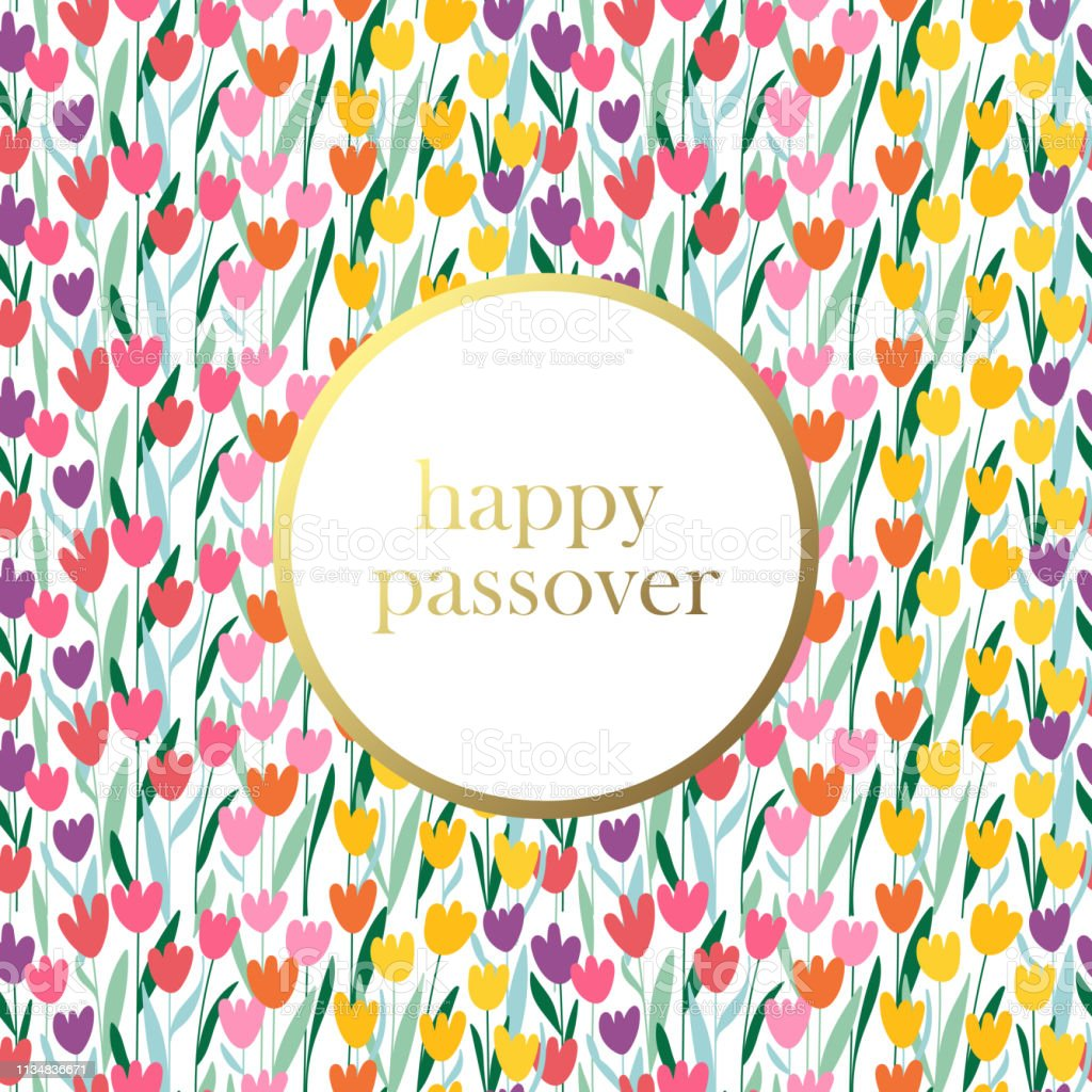 Seamless Pattern For Passover Holiday With Cute Spring Flowers