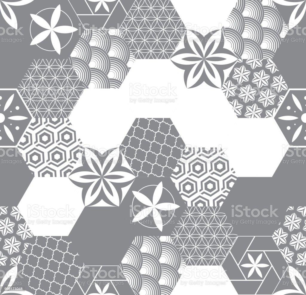 nahtlose muster fr fliesen im bad zeichnung fr heimtextilien muster aus sechsecken lizenzfreies - Bad Muster