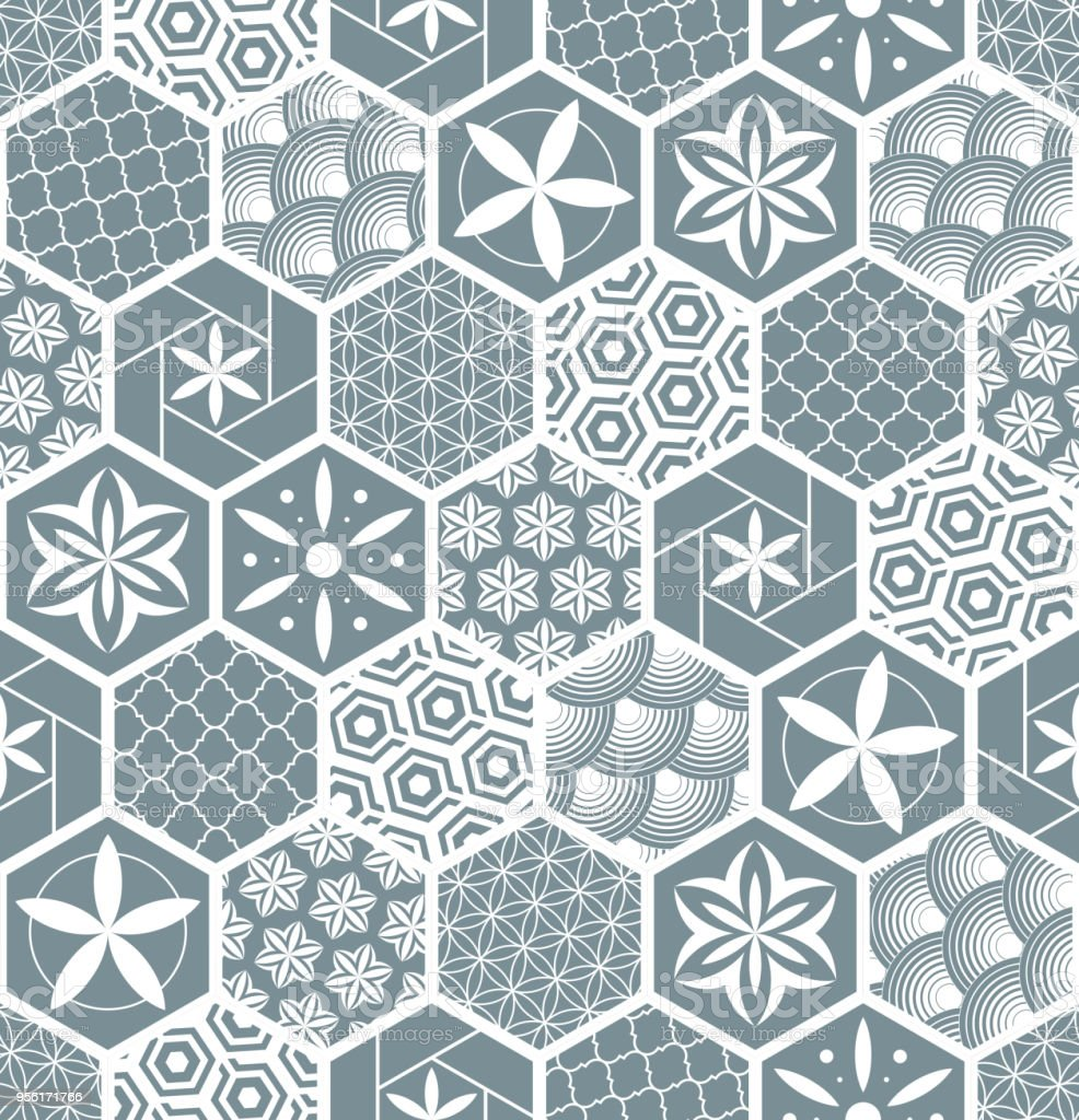 Seamless Pattern For Tiles In The Bathroom Drawing For Home Textiles ...