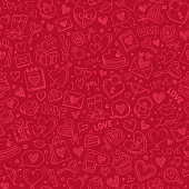Seamless pattern for Valentine's day. Doodle design elements on a red background