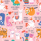 Seamless pattern for Valentine's day with cute animals in love. Childish background for fabric, wrapping paper, textile, wallpaper and apparel. Vector Illustration