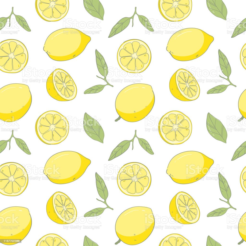 Seamless Pattern Fresh Lemon Background Hand Draw Cute Background Stock Illustration Download Image Now Istock