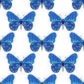 Seamless pattern from blue butterfly