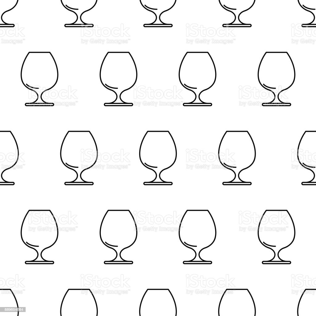 Seamless pattern from cognac glass black contour on white background of vector illustration vector art illustration