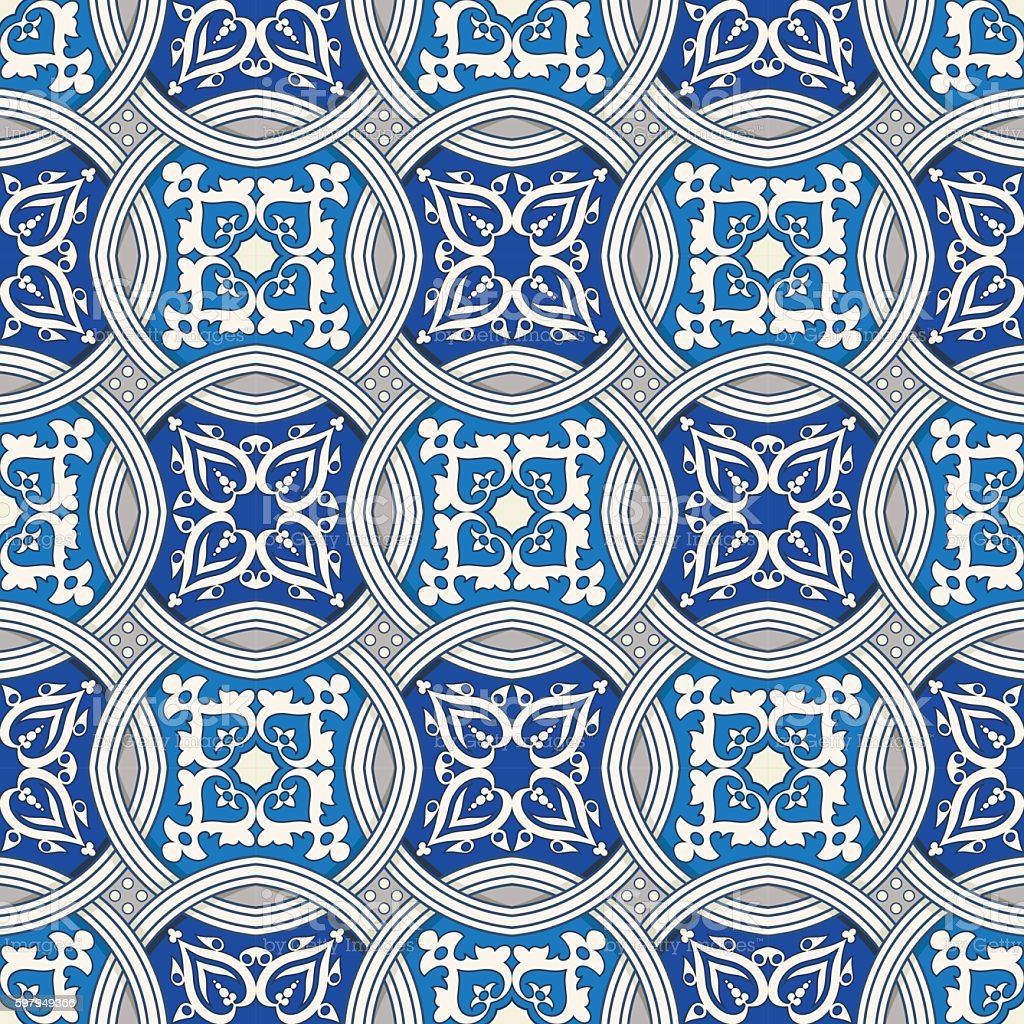Seamless Pattern From Colorful Floral Moroccan Portuguese Tiles ...