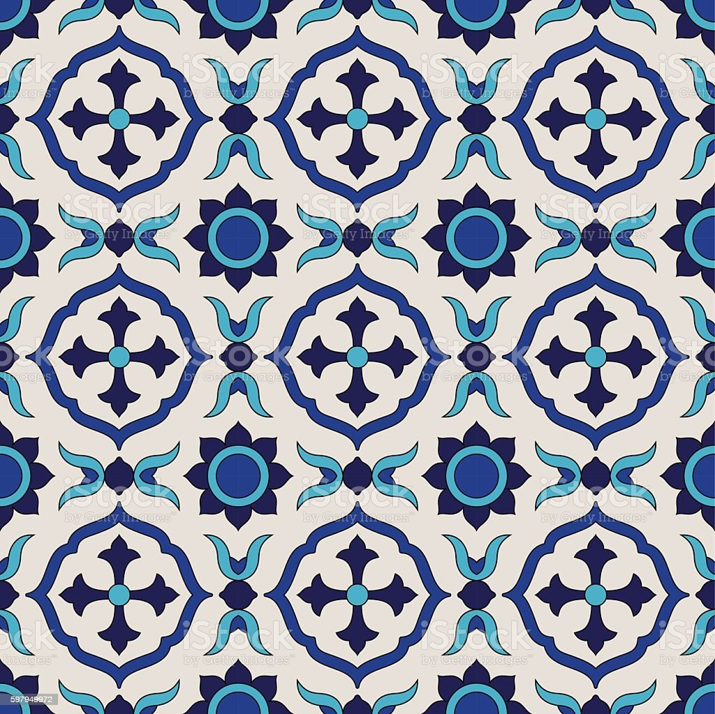 Seamless pattern from colorful floral Moroccan, Portuguese tiles, Azulejo, ornaments. vector art illustration