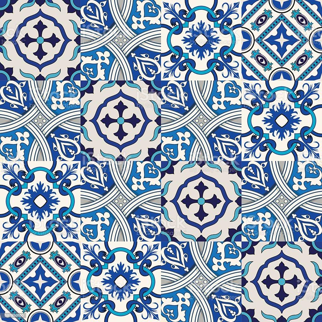 Seamless Pattern Di Fiori Colorati Marocco, Piastrelle Portoghesi, Azulejo,  Ornamenti. Seamless Pattern
