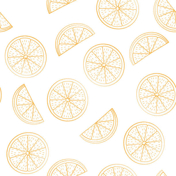 Seamless pattern from cut half oranges Seamless pattern from cut half oranges on a white background. Fruit. Design for textiles, banners, posters. Vector illustration. citrus fruit stock illustrations