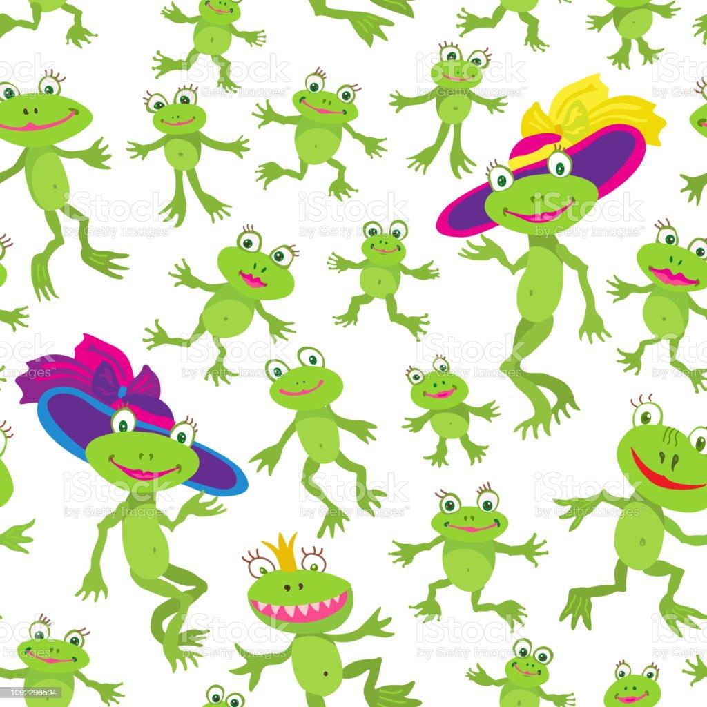 かわいい漫画からのシームレスなパターンは白の背景にカエルと