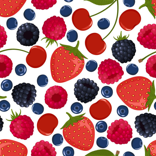 Seamless pattern from falling ripe berries Seamless pattern from falling ripe berries. Raspberries, strawberries, blackberries, cherries, blueberries. Background. Design for poster, label, banner. Vector illustration. berry fruit stock illustrations