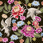 Seamless pattern from painted aster flowers and white cranes. Japanese style. For textile design or printing.