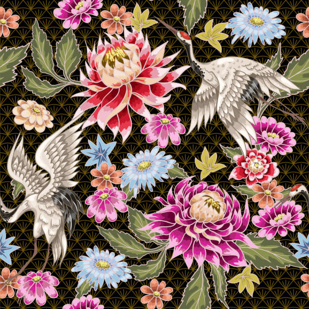 seamless pattern from painted aster flowers and white cranes. japanese style. - crane bird stock illustrations