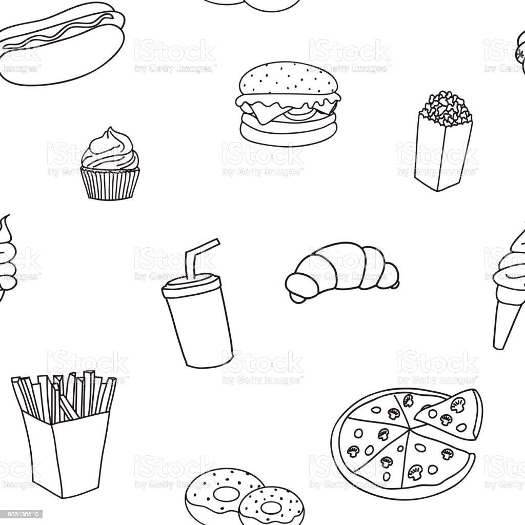 Seamless pattern from products fast food seamless pattern from products fast food - arte vetorial de stock e mais imagens de alimentação não-saudável royalty-free