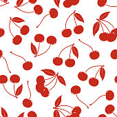 Seamless pattern from silhouettes of berries of a cherry on a white background. Design for textiles, packaging, banner, poster, label. Vector illustration.
