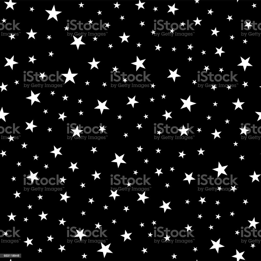 Seamless Pattern From Stars Geometric Background White On A Black Vector