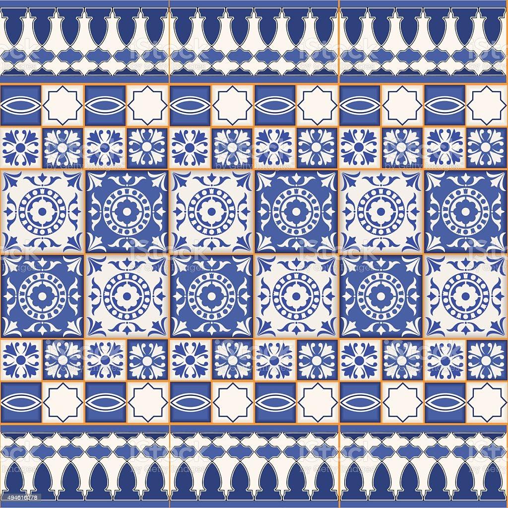 Nahtlose Muster Von Fliesen Und Rand Marokkanische Portugiesisch ...