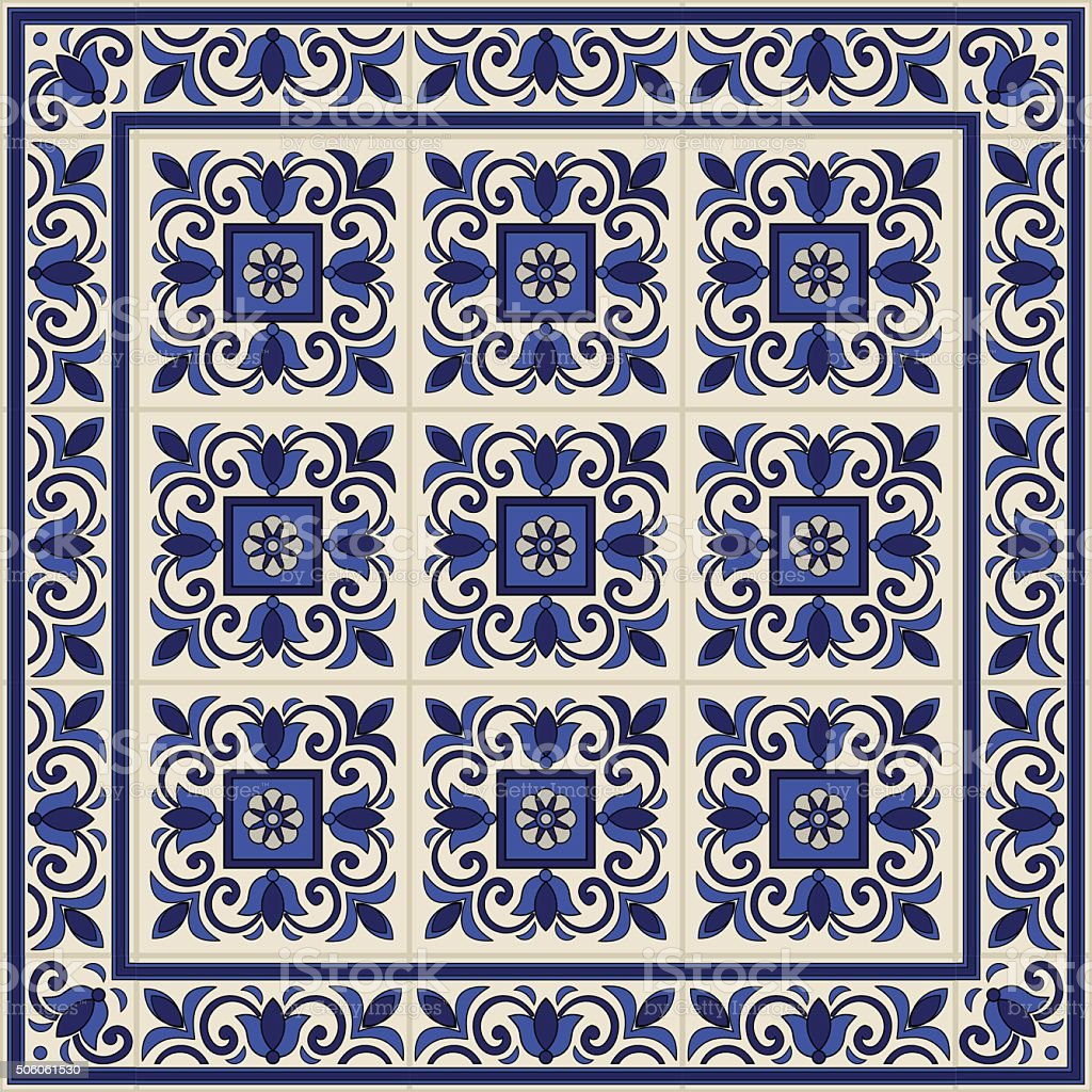 seamless pattern from tiles and border moroccan portuguese. Black Bedroom Furniture Sets. Home Design Ideas