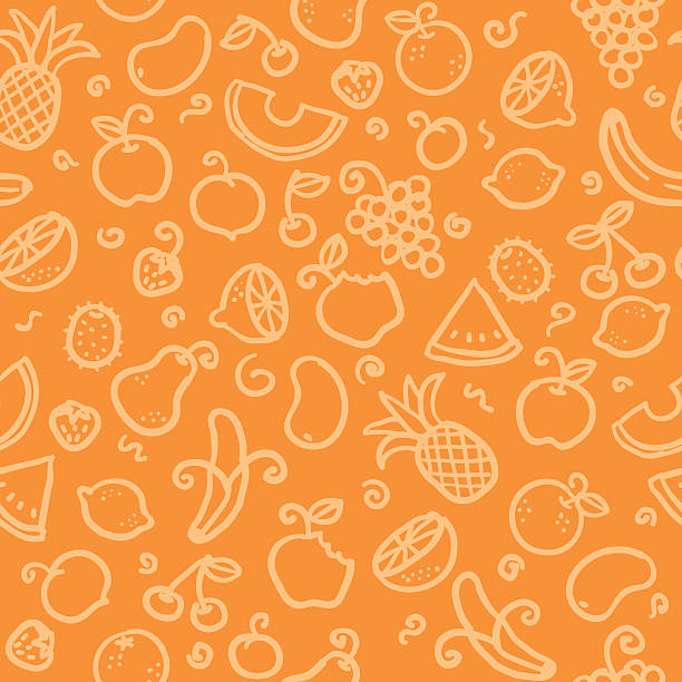 seamless pattern: fruit seamless background with hand drawn fruit illustrations. just drop into your illustrator swatches and use as a tiled fill. more similar images: fruit backgrounds stock illustrations