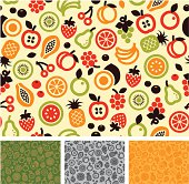 Seamless fruit pattern design, easy to change color.