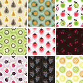 """A collection of fruit pattern. All design are seamless and """"pattern swatches"""" included in file, for your convenient use."""