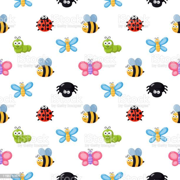 Seamless pattern funny bugs cartoon insects isolated on white vector id1195782821?b=1&k=6&m=1195782821&s=612x612&h=x86tbzgsgojtfpv5d9fw8yust2r3c6r7u43wms8no10=